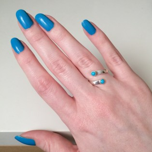 Comet-Inspired Spiral Ring - Sterling Silver, Sleeping Beauty Turquoise