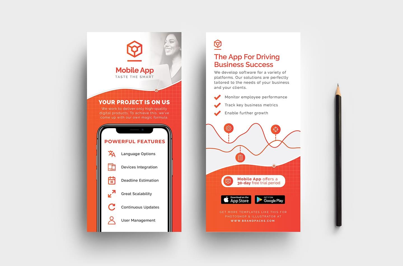 mobile app dl card template v2 psd