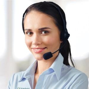 BrandPoint representative with headset