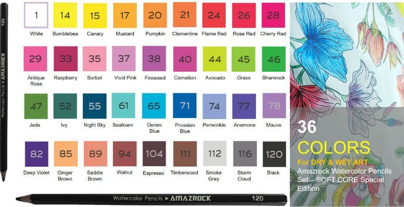 36 Color palette for Amazrock Watercolor Pencils Set