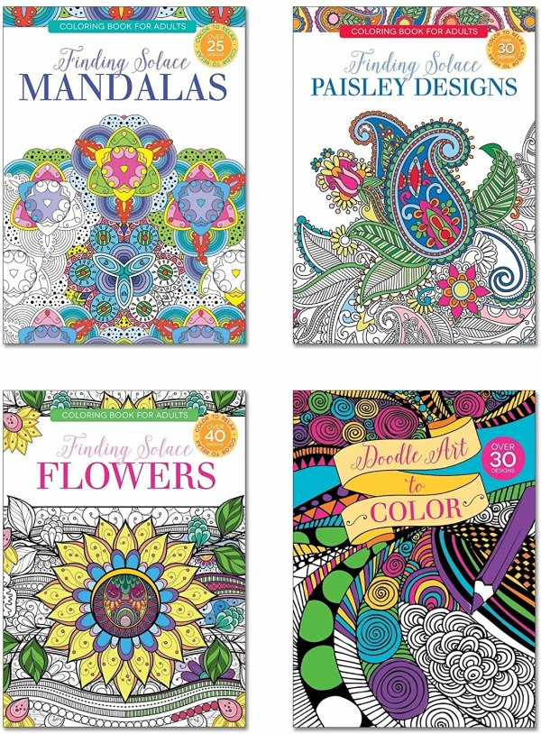 B-THERE Adult Coloring Books - Set of 4 Coloring Books, Over 125 Different Designs Combined