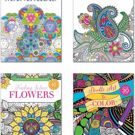 B-THERE Adult Coloring Books – Set of 4 Coloring Books | Over 125 Different Designs Combined
