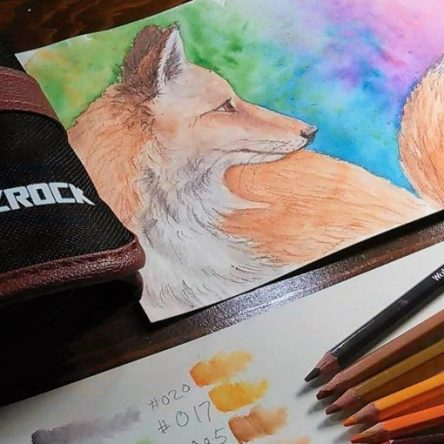 Watercolor Painting Tutorial | How to paint a fox with Amazrock Watercolor Pencils