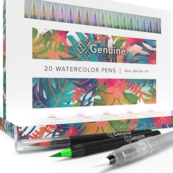 Watercolor Brush Pens by Genuine Crafts - Set of 20 Premium Colors - Real Brush Tips