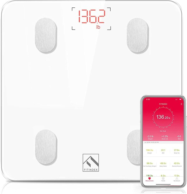 FITINDEX Bluetooth Body Fat Scale, Smart Wireless BMI