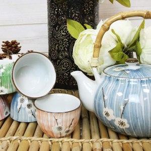 Japanese Design White Cherry Blossom Ceramic Tea Pot and Cups Set Serves 5 Excellent Home Decor Asian Living
