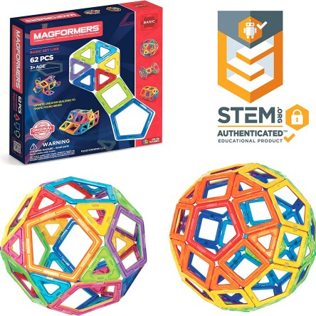 Magformers  Basic Set (62-pieces)  Magnetic Building Blocks | Educational Magnetic Tiles, Magnetic Building STEM Toy