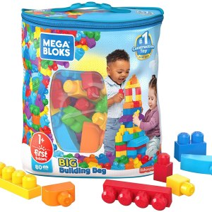 Mega Bloks First Builders Big Building Bag with Big Building Blocks, Building Toys for Toddlers (80 Pieces) - Blue Bag