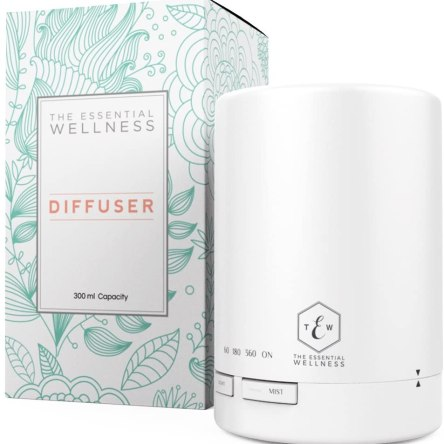 Ultrasonic Diffuser – White Essential Oil Diffuser – Aroma Diffuser with Timer – BPA Free – Auto Shut Off 300ml