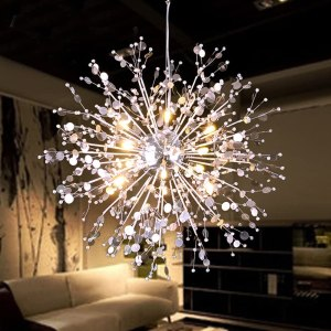 GDNS 8 Pcs Lights Chandeliers Firework LED Light Stainless Steel Crystal Pendant Lighting Ceiling
