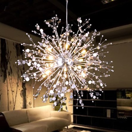 GDNS 8 Pcs Lights Chandeliers Firework LED Light Stainless Steel Crystal Pendant Lighting Ceiling Light Fixtures Chandeliers Lighting,Dia 23.6 inch