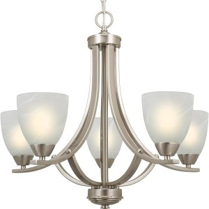 Kira Home Weston 24in Contemporary 5-Light Large Chandelier - Alabaster Glass Shades, Adjustable Chain, Brushed Nickel Finish