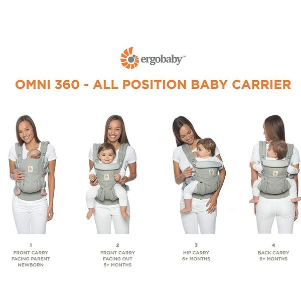 Ergobaby Omni 360 Baby Carrier with Lumbar Support (Pure Black) - All Carrying Positions