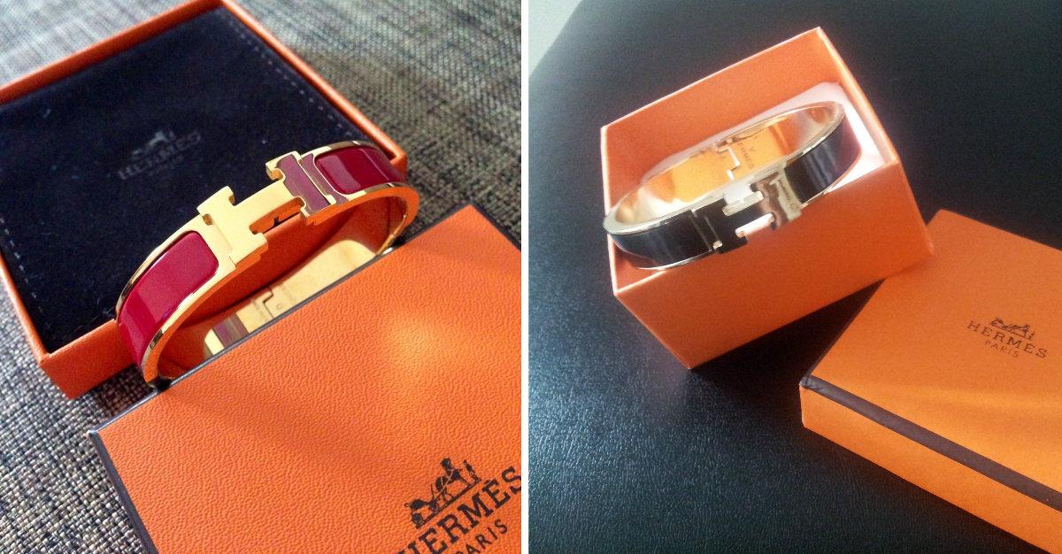 0d2a13cf0f6 ... counterfeit H enamel bracelets. Left: Authentic Right: Fake