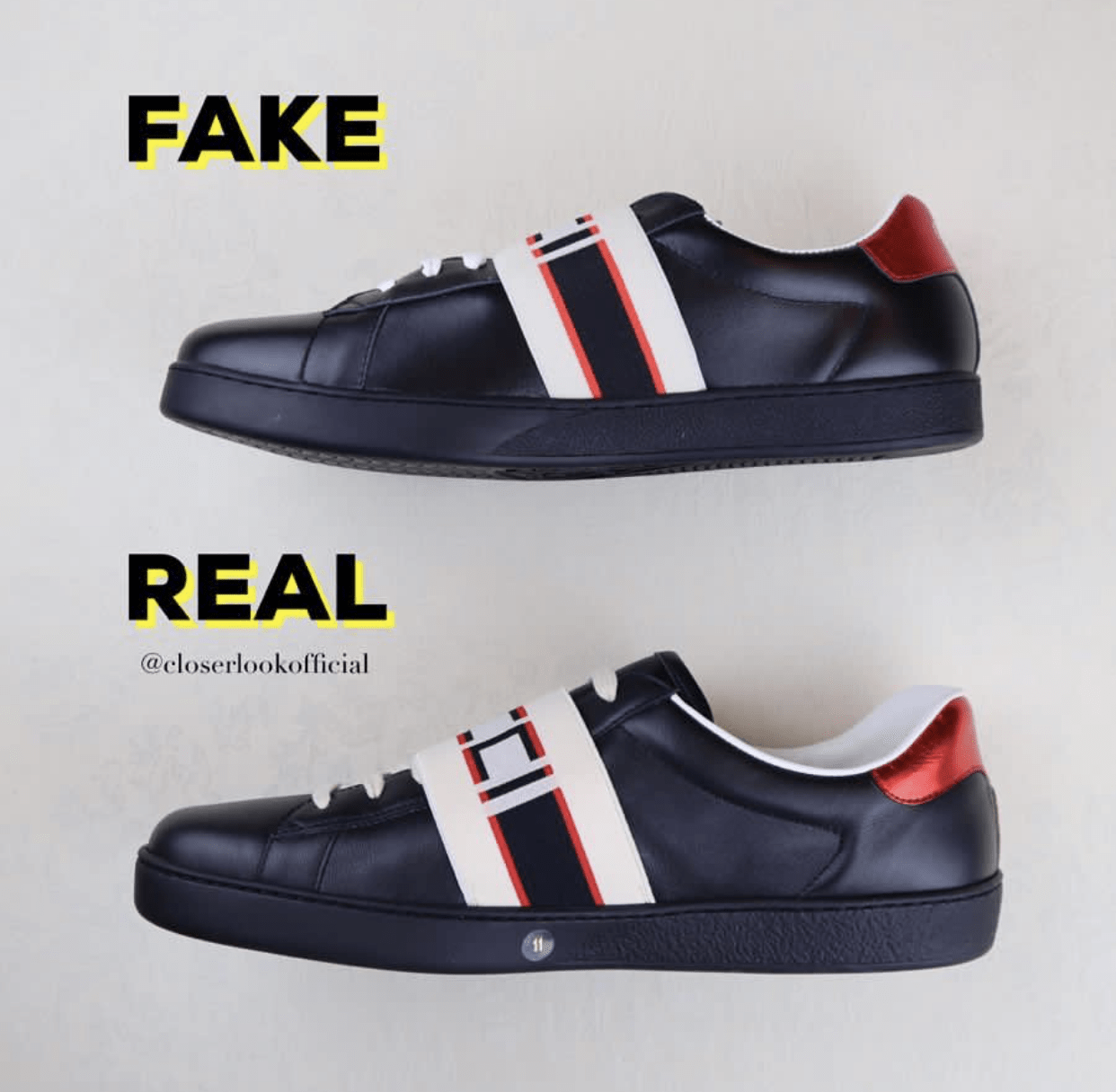 fb0a23abcb93 The shape from a side view of this sneakers reveals clearly their  differences. The fake pairs are shorter and as you can see the Gucci Logo  cannot be seen ...