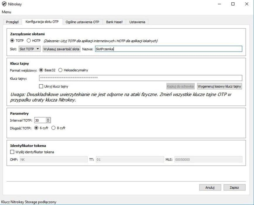 Konfiguracja Slotu  Nitrokey – inny sposób na bezpieczeństwo KonfiguracjaSlotu