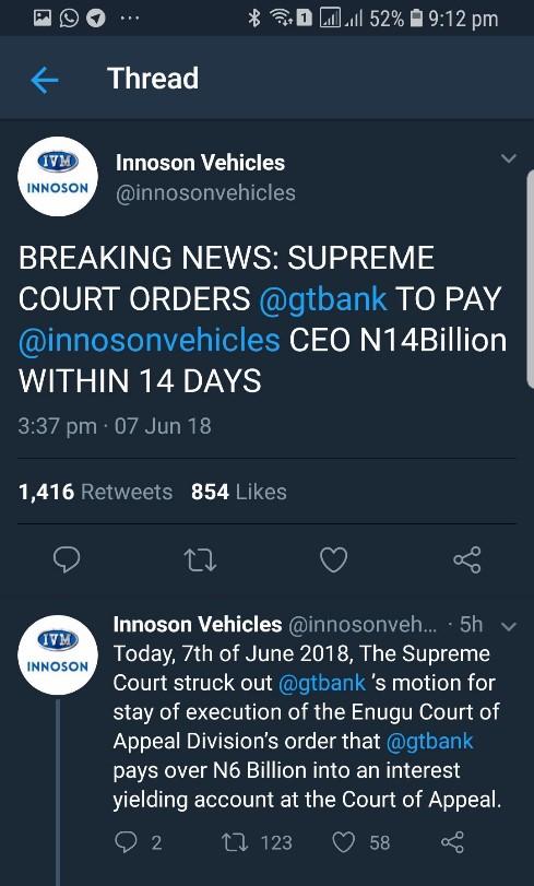 Innoson Deletes False Claim on Supreme Court from Social Media (ScreenShots) - Brand Spur