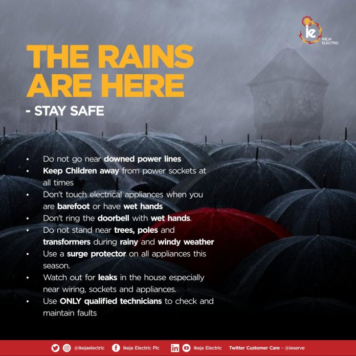 IKEDC ISSUES RAINY SEASON ALERT, CAUTIONS RESIDENTS AGAINST ACTIVITIES UNDER POWER LINES... - Brand Spur