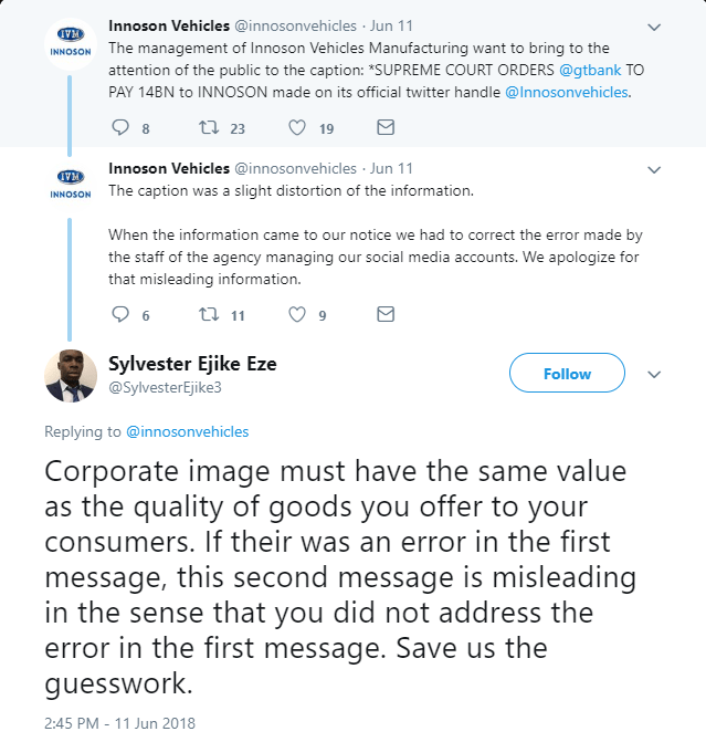Innoson Admits to Spreading False Information about GTBank and Supreme Court Judgment (Screenshots) - Brand Spur