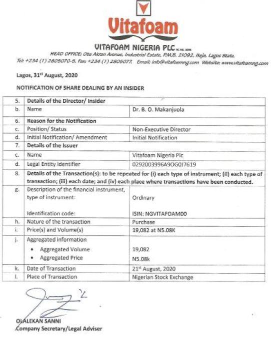 Insider Dealing: Vitafoam's Non Executive Director acquires 19,082 Additional shares