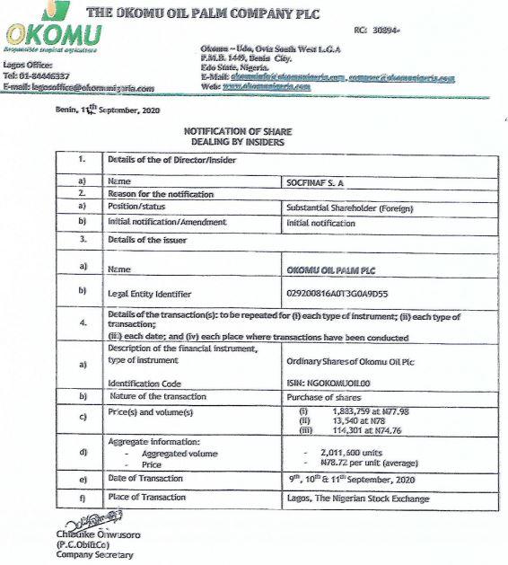 Insider Dealing: Socfinaf S.A Increases Stake in Okomu Oil