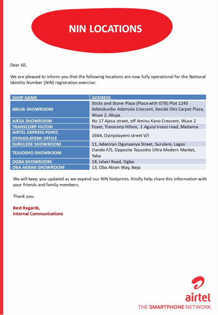 Airtel Granted Verification and Enrolment License for NIN BRANDSPURNG