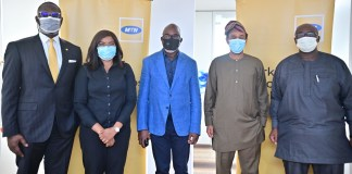 NFF President, Amaju Pinnick pays Courtesy Visit to MTN-Brand Spur Nigeria