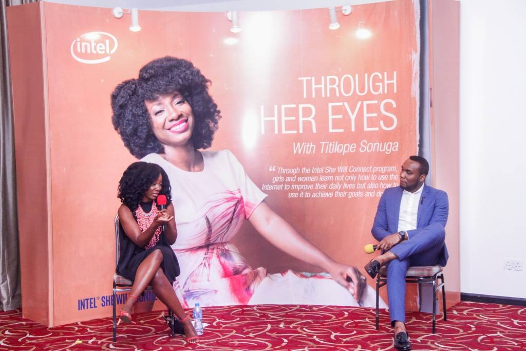'She will connect' Ambassador, Titilope Sonuga and Marketing & PR Manager, Adim Isiakpona at the unveiling of She will connect Radio show and Bella Naija column