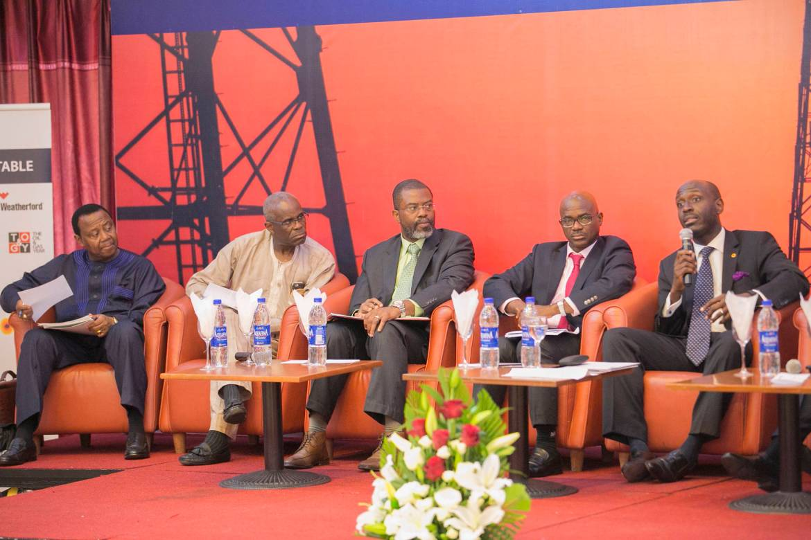 Chief Tunde Afolai_ Chairman; Amni International, as the Moderator Mr. Femi Akarakiri_ Managing Director, Weatherford Nigeria Limited; Panelist Mr. Ayo Ajose-Adeogun_ Chief Strategy Officer Oando Plc; Panelist Dr. Lazarus Angbazo, CEO of GE Nigeria; Panelist Dr. David Ige, CEO of GasInvest, Panelist