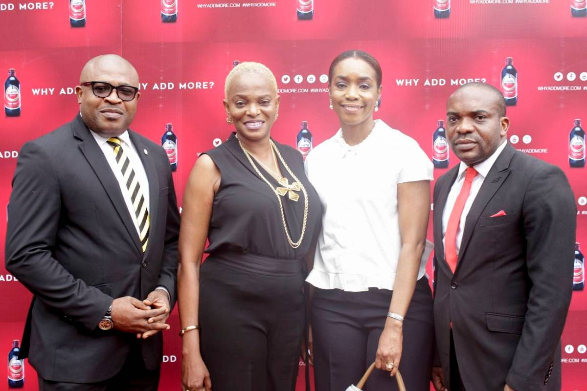 Kufre Ekanem, Corporate Affairs Adviser, Nigerian Breweries Plc; Ruth Osime, Editor, ThisDay Style; Mrs. Ngozi Princewill-Utchay, CEO, Artelier Lifestyle Consultants; Chidike Oluaoha, Senior Brand Manager, Amstel Malta; at the official launching of Amstel Malta's new campaign, Why Add More held in Lagos recently