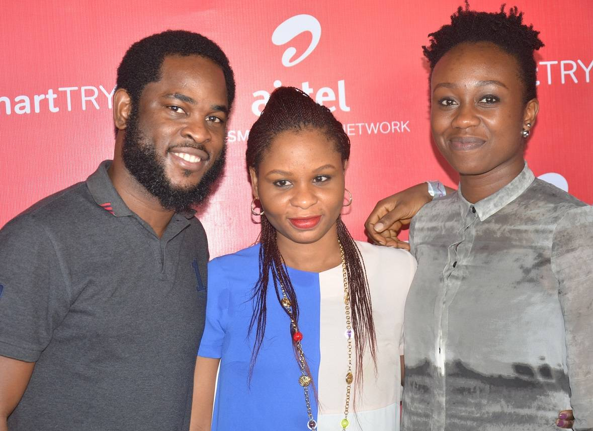 L-R: Vice President, Brands & Advertising, Airtel, Enitan Denloye; Senior Manager, Brand Management, Oluwaseun Adaramola and Head, Youth Segment, Omoyeme Effiong at the Smart Trybe Party held at Victoria Island, Lagos recently.