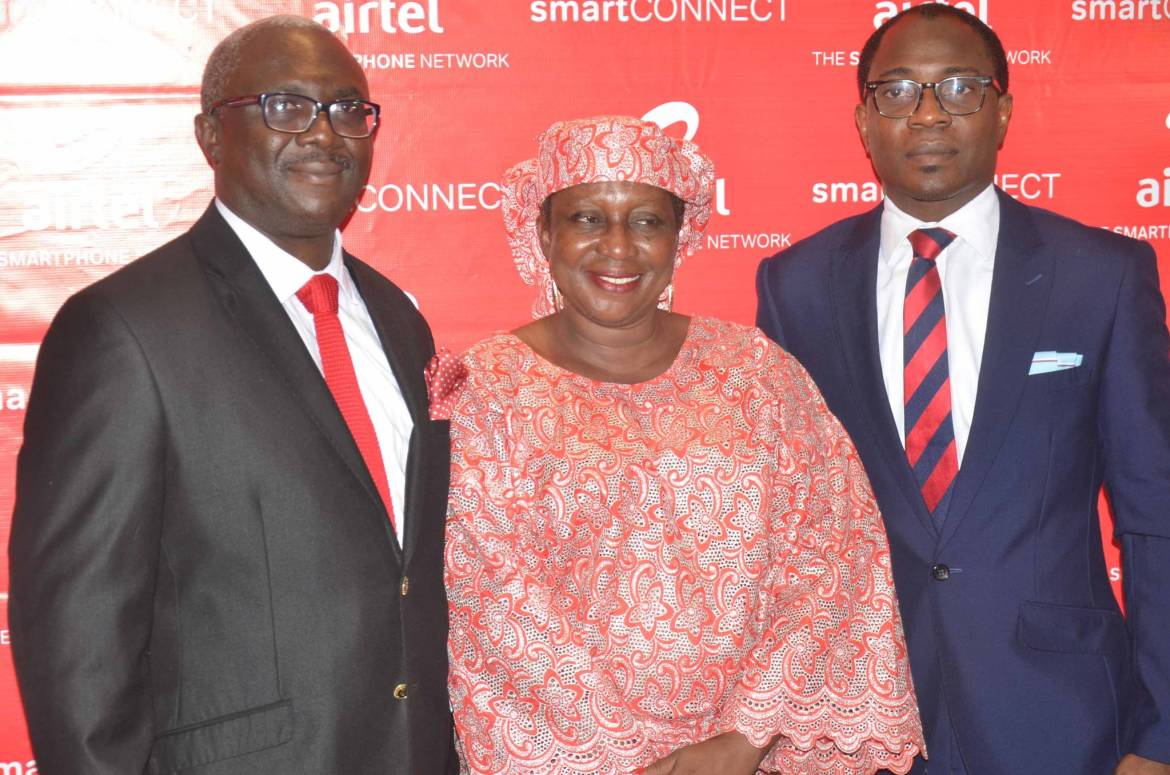 Head, Mass Market Segment, Airtel Nigeria, Oladipo Jolaosho; Veteran Actress, Ayo Mogaji and Head, Public Relations, Airtel Nigeria, Adefemi Adeniran at the launch of Airtel Smart Connect 2.0 recently.