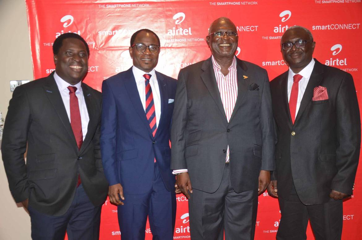 L-R: PR & Communications Manager, Airtel Nigeria, Erhumu Bayagbon; Head, Public Relations, Airtel Nigeria, Adefemi Adeniran; Veteran Actor Kunle Bamtefa and Head, Mass Market Segment, Airtel Nigeria, Oladipo Jolaosho at the launch of Airtel Smart Connect 2.0