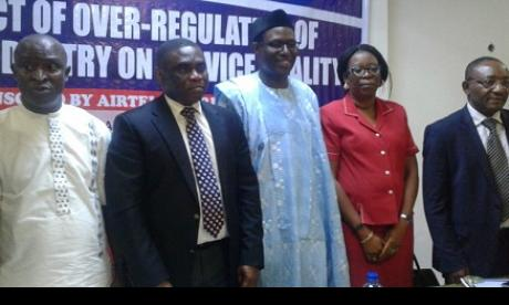 L-R: Emma Okonji, president of NITRA; Tony Ojobo, director, Public Affairs at NCC; Gbenga Adebayo, Chairman of ALTON; Mrs Yetunde Akinloye, head, Legal and Regulatory Services, NCC and Tony Nwosu, first VP of ATCON during NITRA's quarterly meeting in Lagos recently.