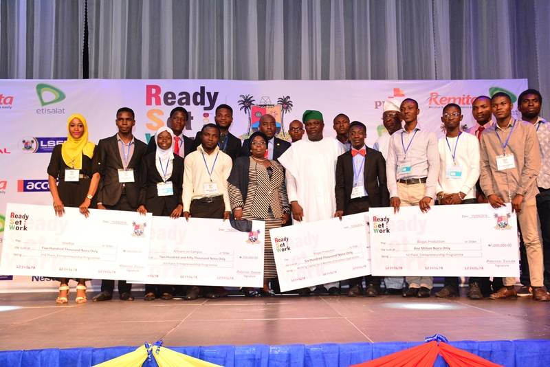 Lagos State Governor, Mr. Akinwunmi Ambode (5th right), Deputy Governor, Dr. (Mrs.) Oluranti Adebule (5th left) with 1st, 2nd  & 3rd  Winners of Entrepreneur competition during the Ready, Set, Work Graduation Ceremony, Class of 2016