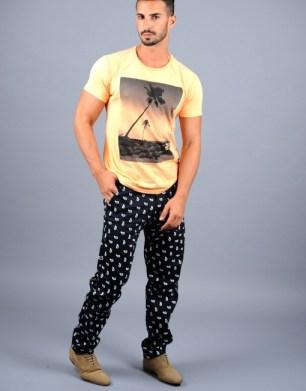 black pants with white elroi