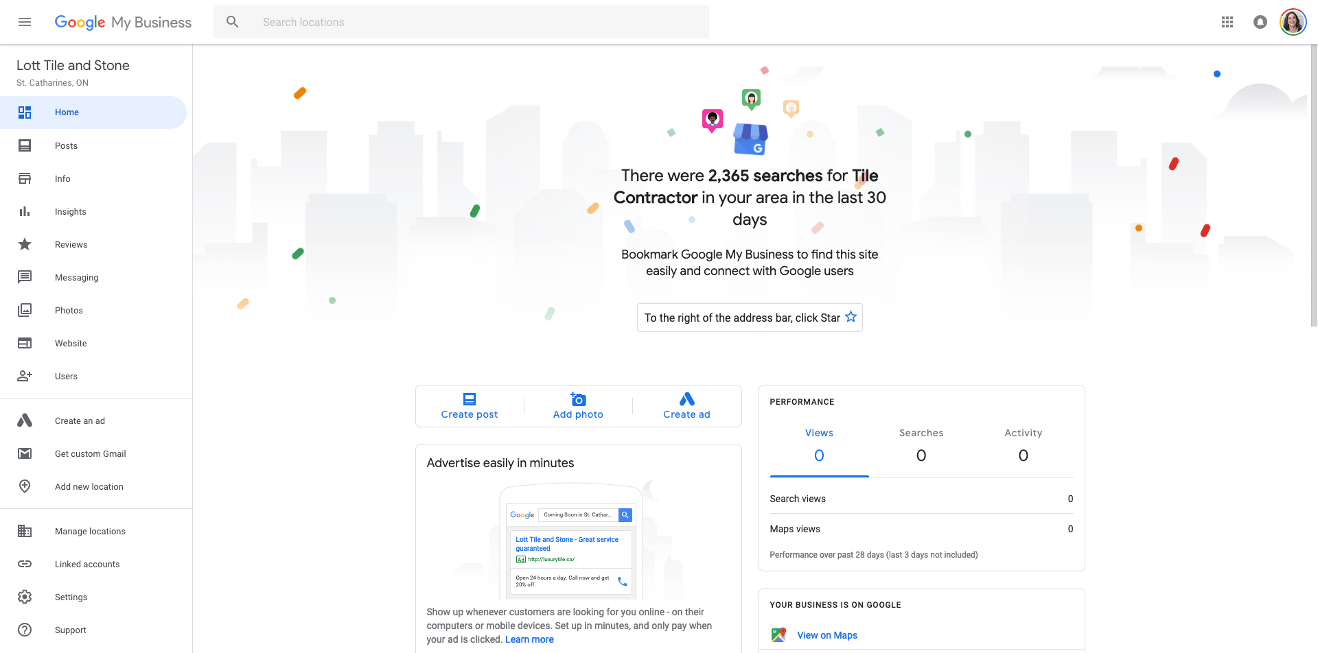 Google My Business Dashboard