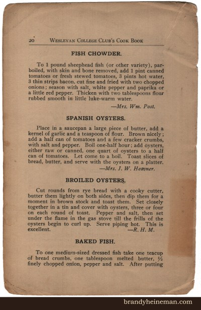 Old-fashioned Recipes: Baked Fish, Spanish Oysters, and Broiled Oysters