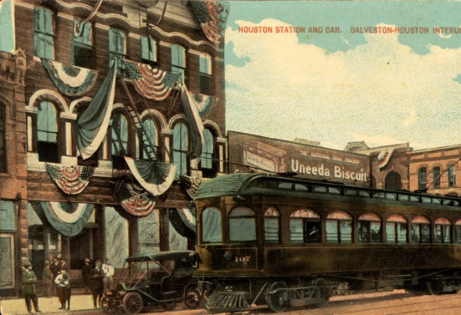 Houston station and car from Galveston-Houston Interurban Railroad, 1915. Courtesy of Special Collections, University of Houston Libraries.