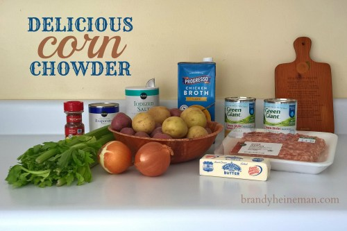 Ingredients for homemade corn chowder