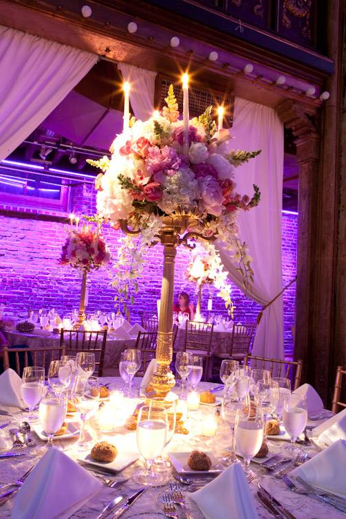 Nyc wedding photography tall centerpieces branham
