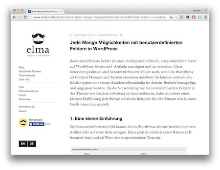 Screenshot Grundlagen benutzerdefinierte Felder in WordPress