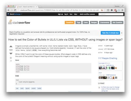 Screenshot HTML-Listen stylen