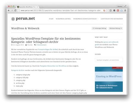 Screenshot WordPress-Templats für ausgewählte Kategorien