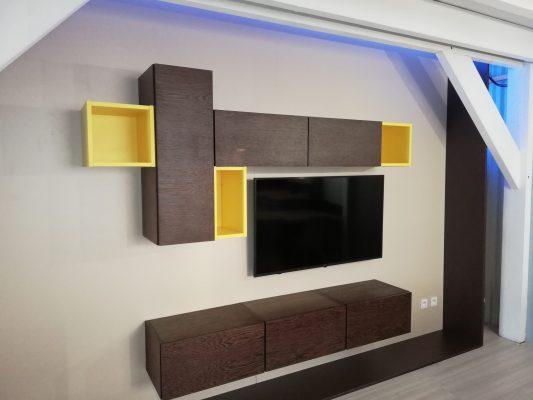mur tv wenge et jaune avec rangements
