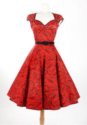 Heidi Dress in Red Vintage Spanish Fan Print