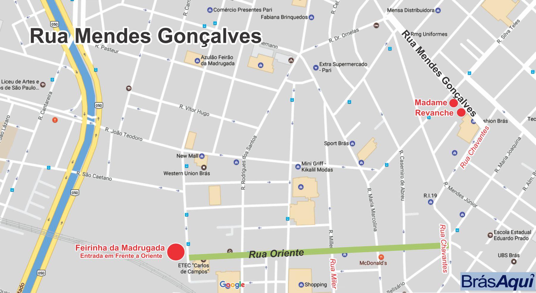 Localize a Mendes Gonçalves em relação a feirinha da madrugada