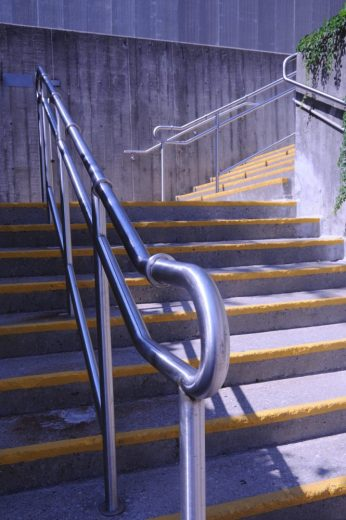 Stainless Steel Railings w/ Skate Deterrents