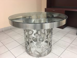 Laser Cut Stainless Steel & Glass Top Table