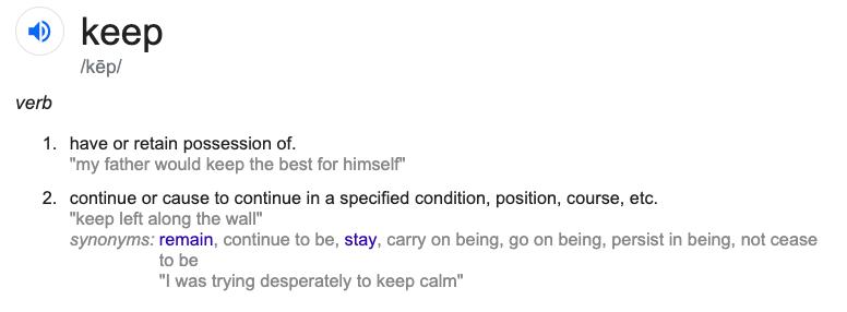 Significado do verbo Keep
